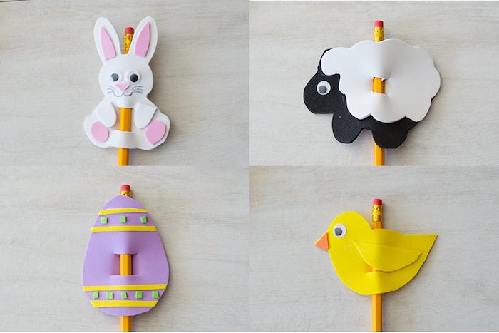 décoration de crayons, lapin de paques, poussin, brebis et oeuf de paques coloré en papier mousse, activité manuelle primaire pour pâques