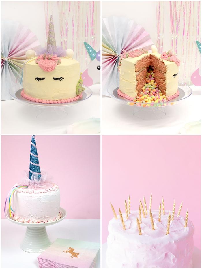 idées de gateau licorne personnalisé décoré avec une corne pailletée et des bougies dorées