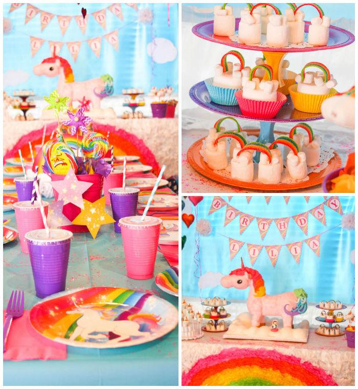 idée de décoration vitaminée de table et de buffet sucré sur le theme licorne et arc-en-ciel