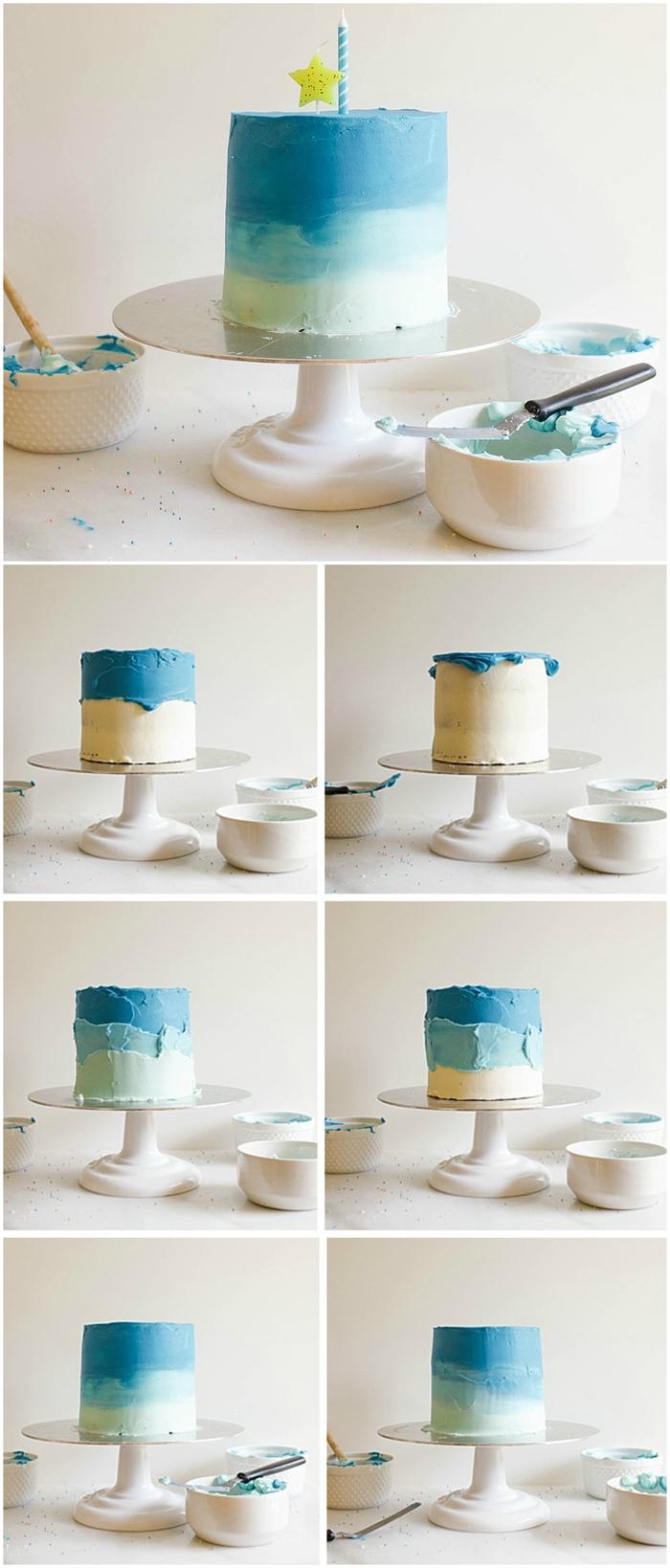 gateau anniversaire facile recouvert de glaçage bleu dégradé pour le premier anniversaire de votre petit garçon