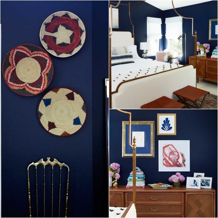 idée deco pour chambre à coucher bleu marine élégante, vannerie murale pour une déco naturelle tendance