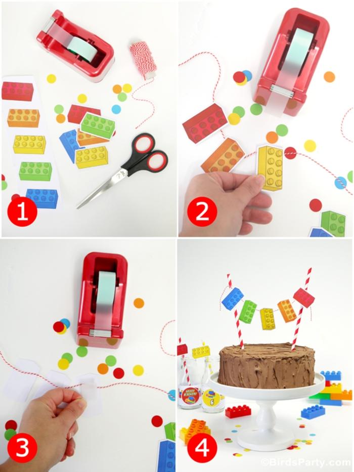 une décoration de gateau anniversaire facile façon guirlande de mini-fanions briques lego
