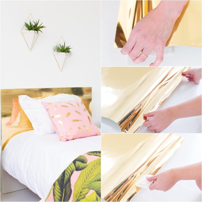 deco de chambre adulte de style bohème chic aux motifs tropicaux, tête de lit personnalisée avec de l'adhésif vinyle imitation laiton
