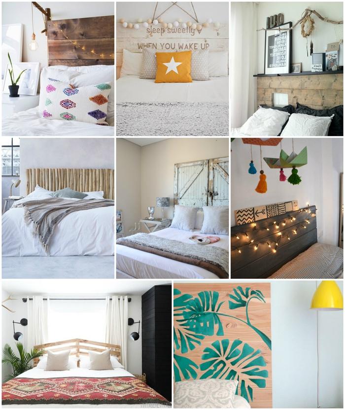 décoration chambre à coucher avec une tête de lit faite maison à partir des matériaux récupérés