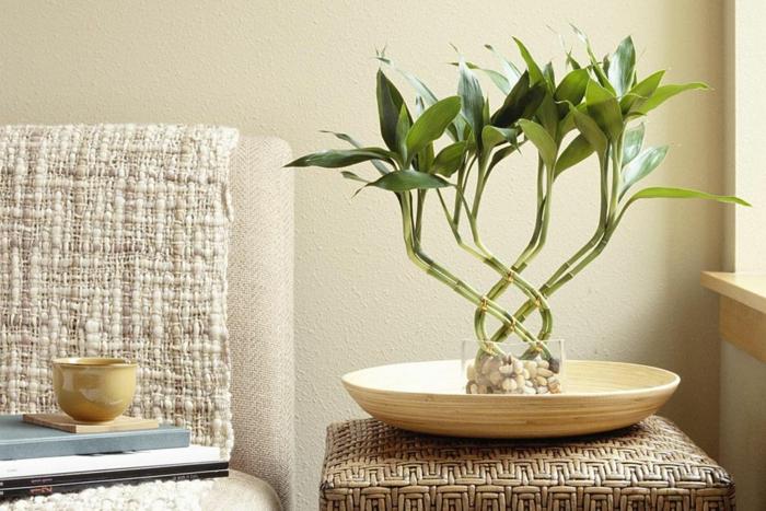 coueur zen, deco salon zen, murs en couleur ivoire, bambou dans un pot zen pour attirer les bonnes énergies, canapé ivoire avec couverture en lin, tabouret en canne tressée