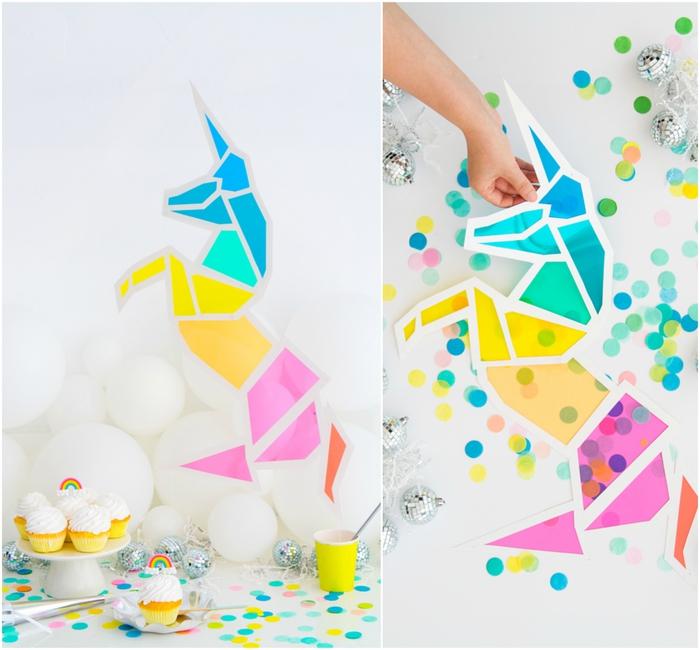 un vitrail licorne deco à motifs géométriques colorés idéale pour la décoration de votre buffet sucré à thème licorne