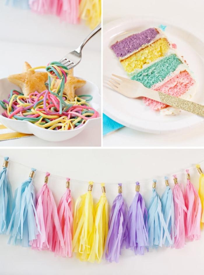 anniversaire theme licorne avec une déco arc-en-ciel tendance sur les murs et dans les assiettes