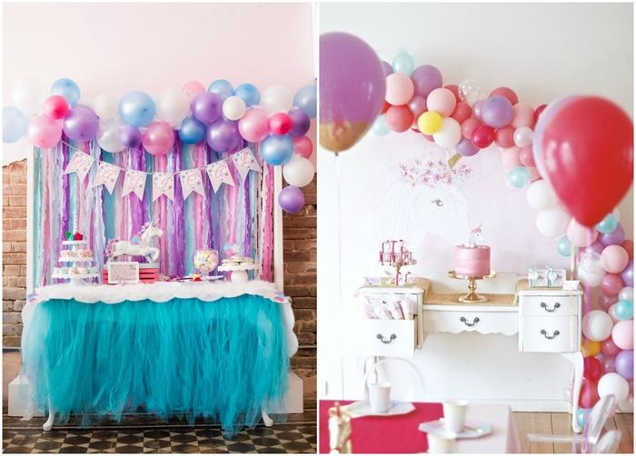 comment organiser le buffet d'anniversaire licorne, idée pour un toile de fond colorée et originale en mur de serpentins et ballons pastel