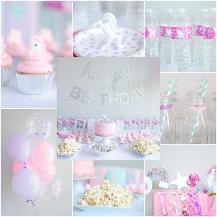 idée pour une décoration de buffet d'anniversaire licorne en rose dragée réalisée toute en délicatesse