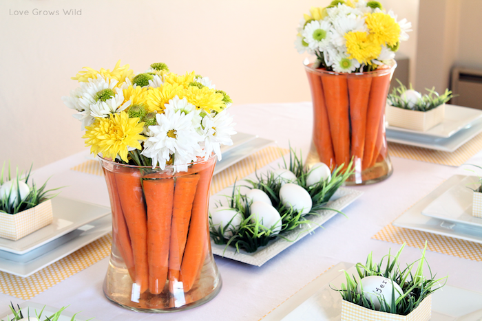 Activité manuelle paques decoration paques facile ranger les vases avec des carottes et fleurs de printemps