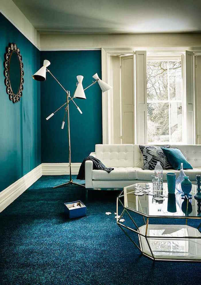 1001 id es d co salon bleu canard paon p trole du goudron et des plumes. Black Bedroom Furniture Sets. Home Design Ideas