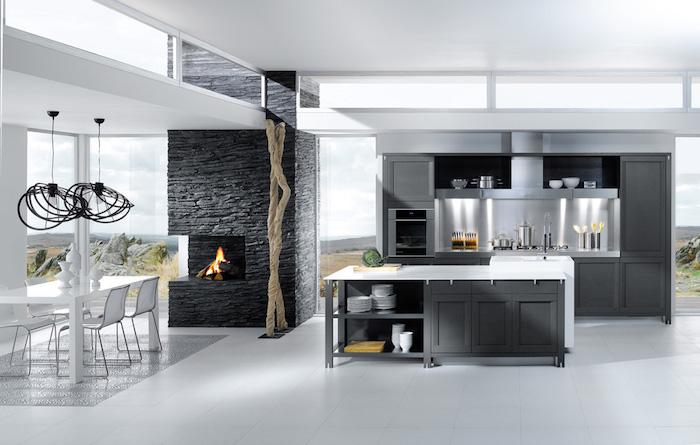 deco piece a vivre avec cuisine ouverte gris anthracite, décoration intérieur moderne blanc et gris