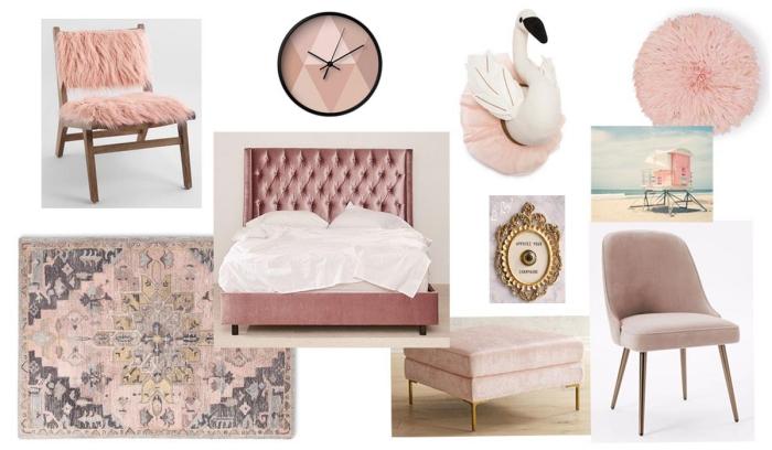 objets et accessoires pour une décoration de chambre rose poudré, tapis aux motifs ethniques à combiner avec une chaise de bois et housse rose pastel