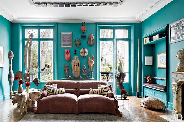 1001 id es d co salon bleu canard paon p trole du for Best color to paint walls when selling a house