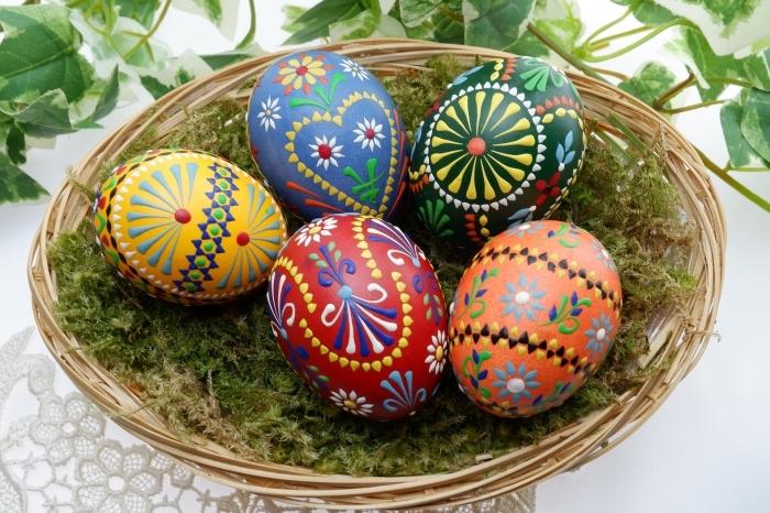 idée pour une deco de paques avec panier de fibres végétales et oeufs décorés aux motifs multicolore et traditionnels