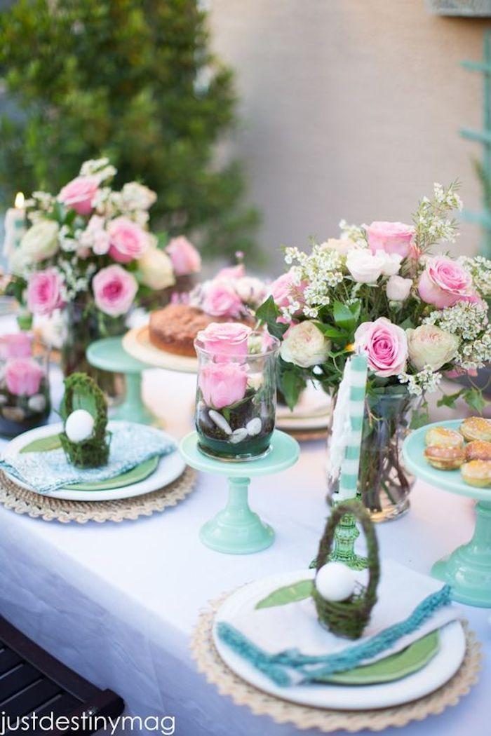Déco de Pâques bricolage paques adorable déco belles fleurs roses roses