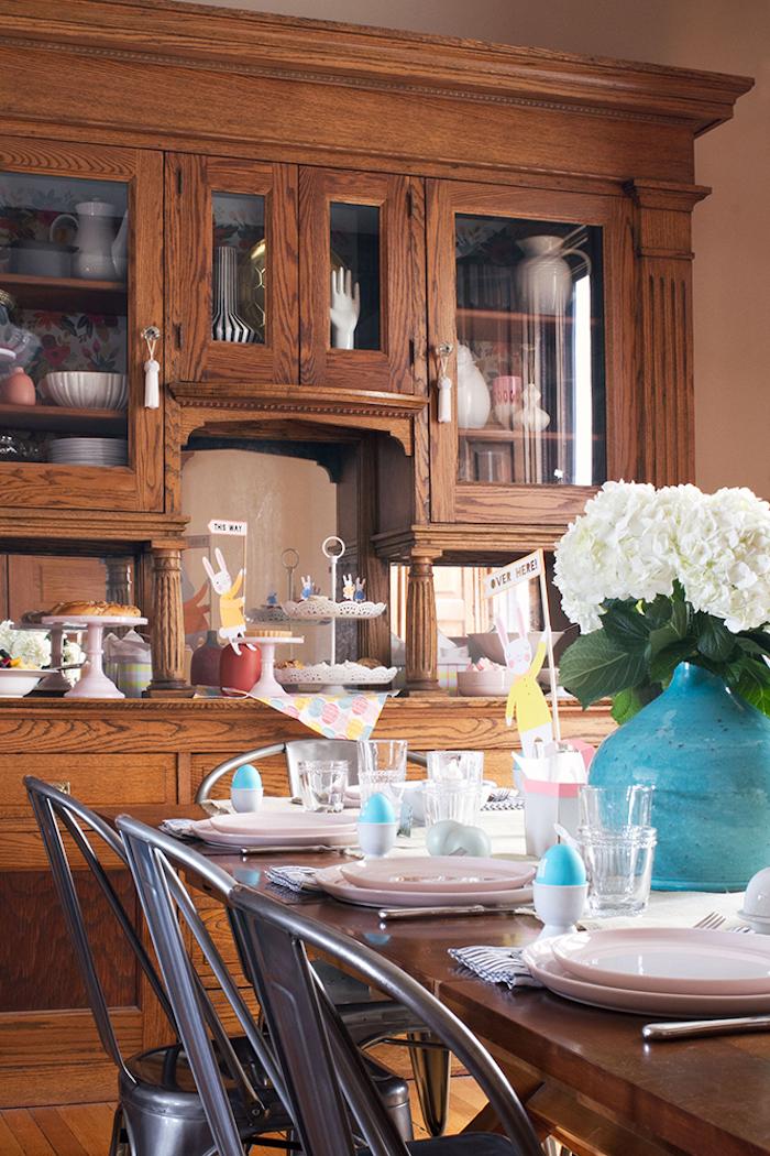 Bricolage de paques idée bricolage paques décoration fleurs vase aigue marine