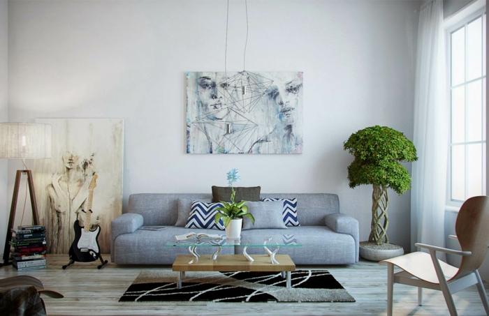 feng shui salon, deco salon zen, murs blancs, canapé gris, parquet en PVC gris, plante zen verte dans l'angle, table rectangulaire basse en bois blanc