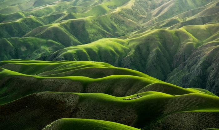 des vallées vertes avec leurs reliefs, paysage paradisiaque en été, silhouettes de sommets aux formes attrayantes, des plaines ensoleillées