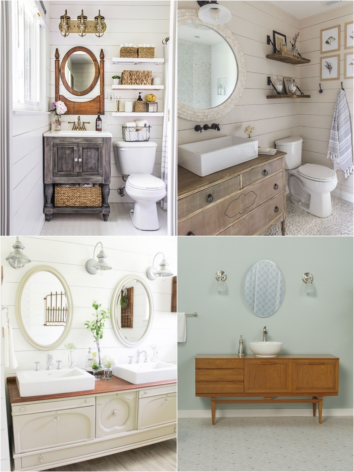 mille idées pour aménager une salle de bain ancienne avec des meubles récup d'aspect vintage