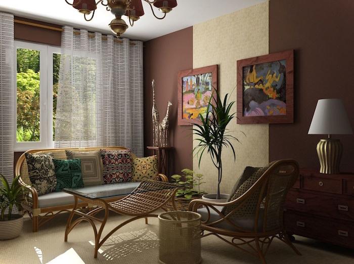 deco boheme chic pour salon, décoration style coloniale avec meubles en rotin