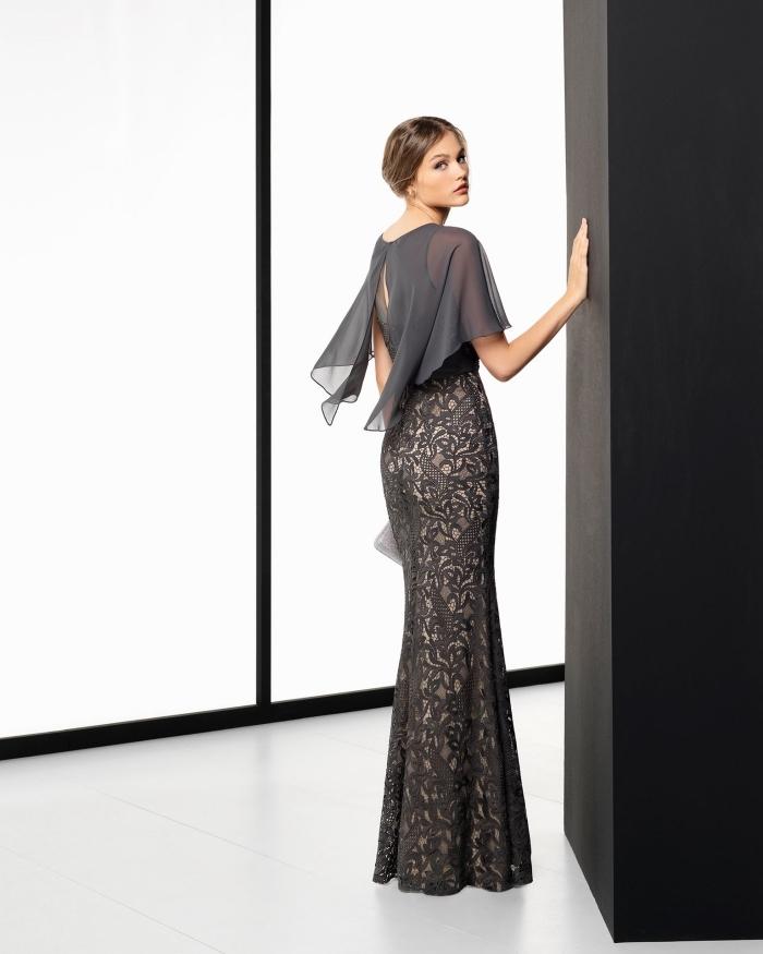 045535e22d47e tenue de soirée élégante pour femme en robe longue avec manches mi longues  fluides