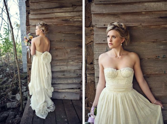 robe longue couleur crème, coiffure tressée, idées pour les mariages en plein air
