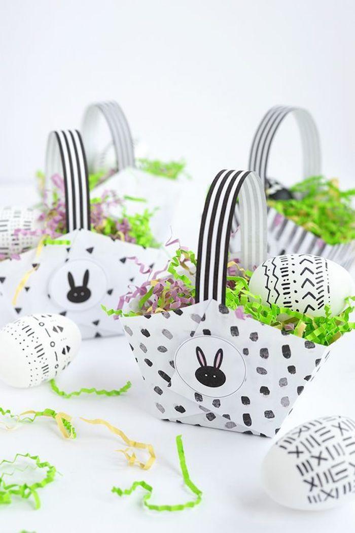 Bricolage de paques déco de Pâques belle déco simple idée basket avec oeufs