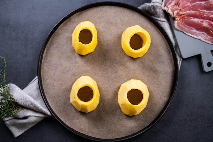 repas du soir simple, pommes de terre vidées avec chaire retirer, comment farcir des pommes de terre
