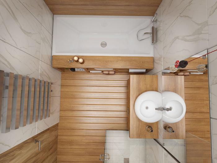 réaliser une decoration petite salle de bain blanc et bois avec petite baignoire, carrelage gris et blanc, idee deco salle de bain nature