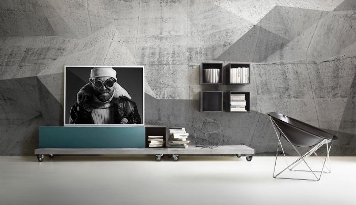 idée comment aménager une pièce de style loft industriel avec revêtement mural en papier peint à imitation béton
