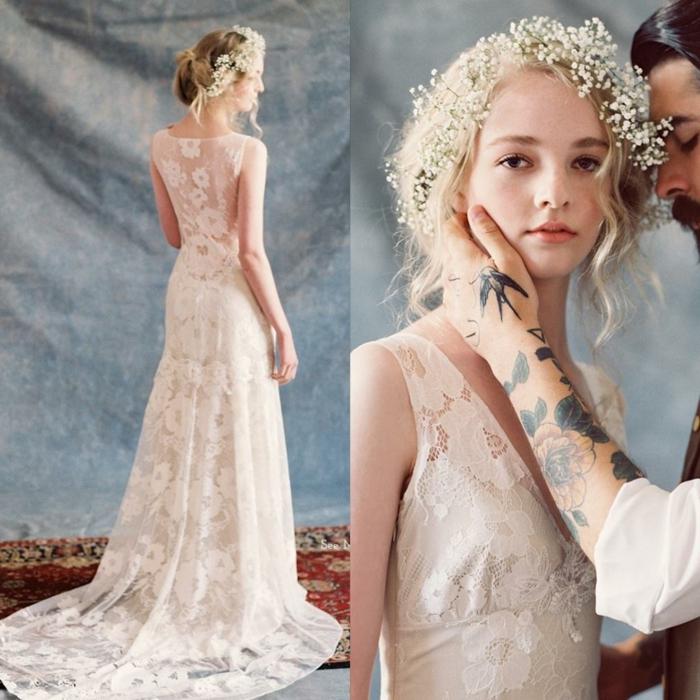 couronne de fleurs, longue robe en dentelle raffinée, mariée style boho chic, traine