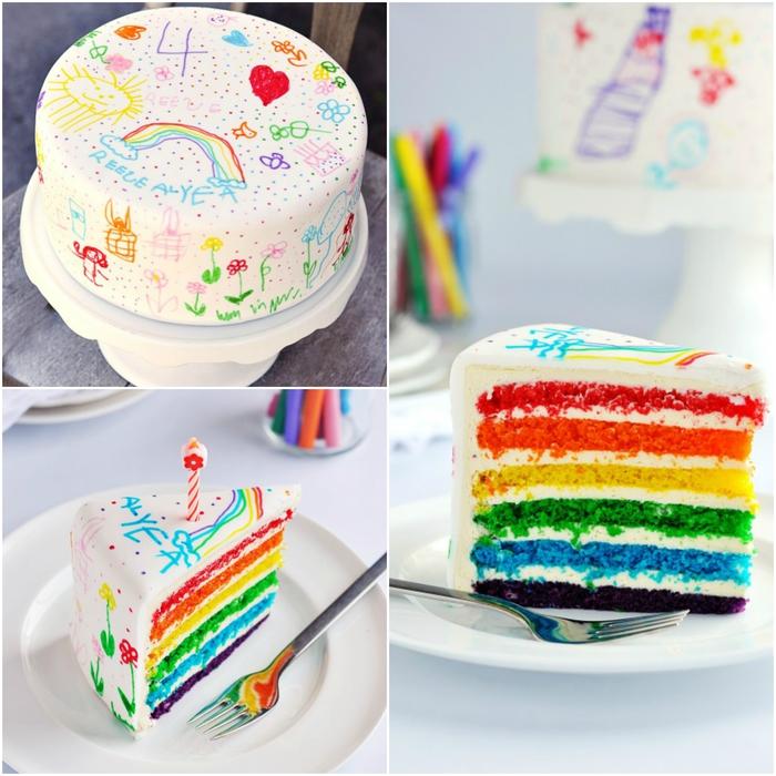 recette de gateau d'anniversaire arc-en-ciel recouvert de glaçage blanc décoré de dessins d'enfant