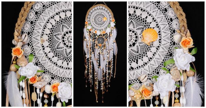 attrape reve geant en napperon blanc, décoration de fleurs artificielles, coquilles de mer, déco mariage originale
