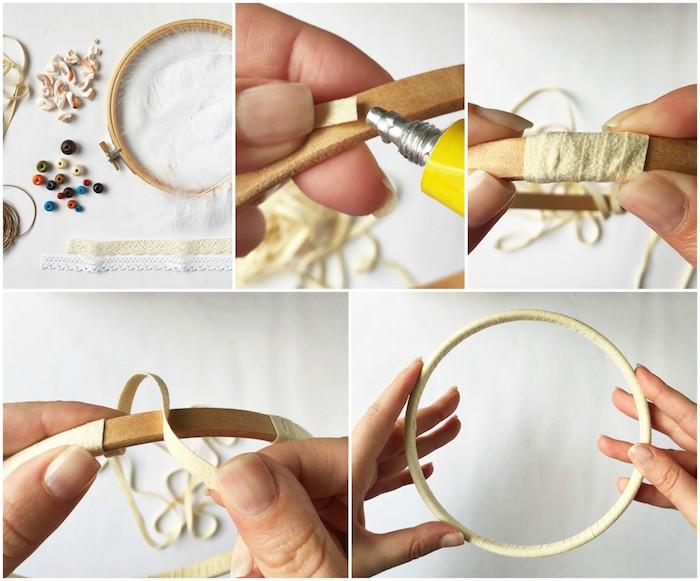 cercle pour attrape reve en tambour à broder en bois enveloppé de cordon en cuir, tutoriel premier étape