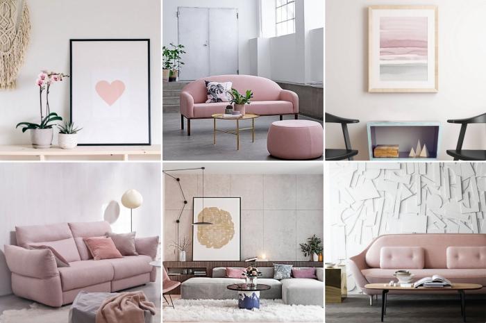 comment décorer une chambre rose et gris, aménagement salon avec canapé et tabouret rose pale combinés avec table basse de bois clair