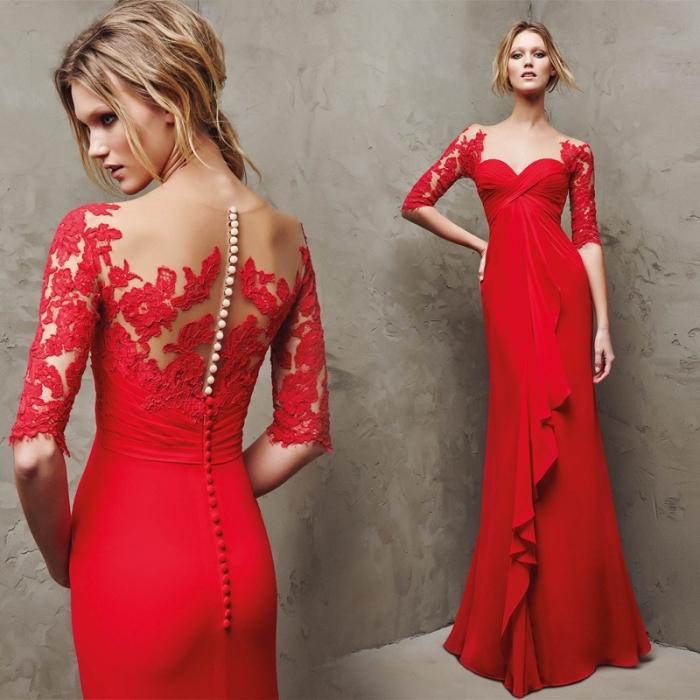 exemple de longue robe de soirée pour mariage en version rouge avec dentelle florale sur le dos et boutons blanc et rouge