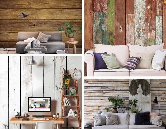 exemples de papier peint imitation bois peint, aménagement salon moderne avec murs à imitation bois foncé et canapé gris
