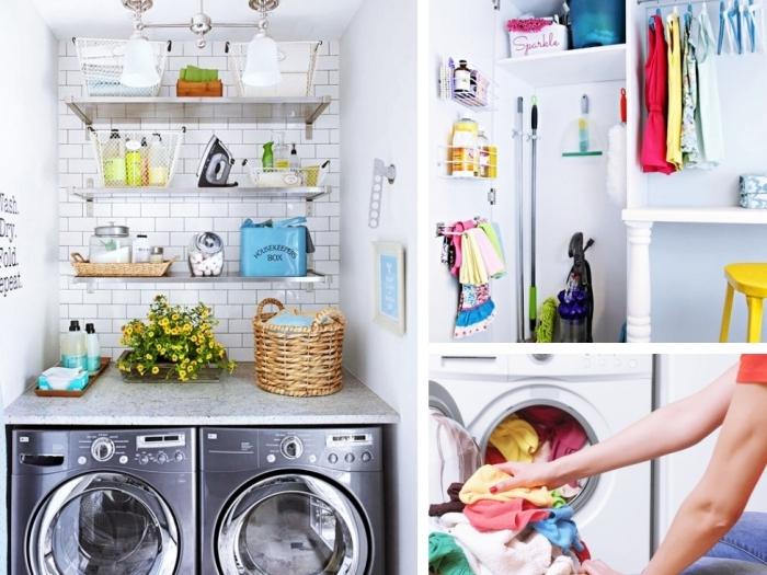 idée aménagement buanderie avec machine à laver sous comptoir gris et décoration murale en carrelage aux briques blanches avec étagères
