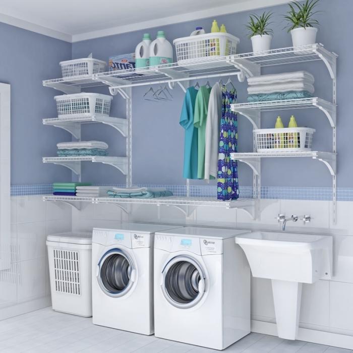 etagere buanderie petites et grandes pour ranger des produits de nettoyages et objets tout usage avec tringle à vêtements