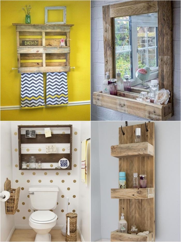 idée pour un relooking salle de bain facile avec des étagères récup réalisées en palettes