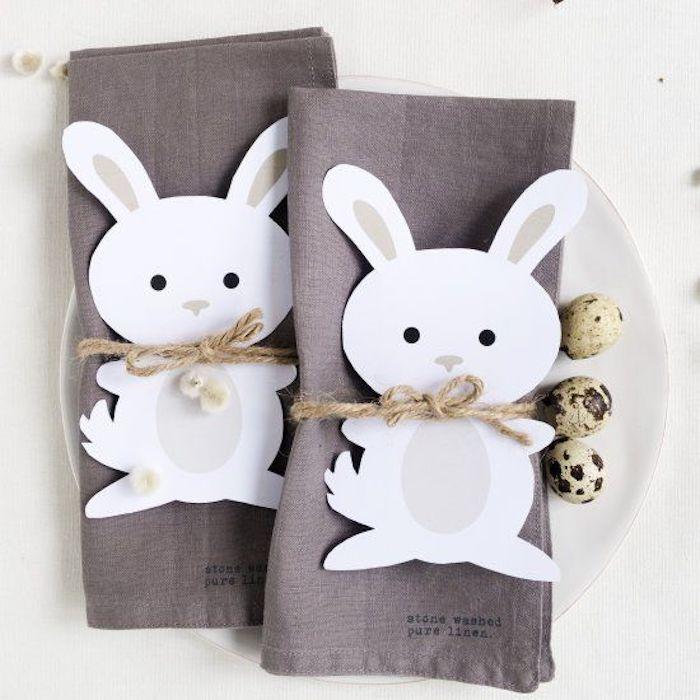 Activité paques déco de Pâques décoration à faire soi meme serviettes lapin de paques