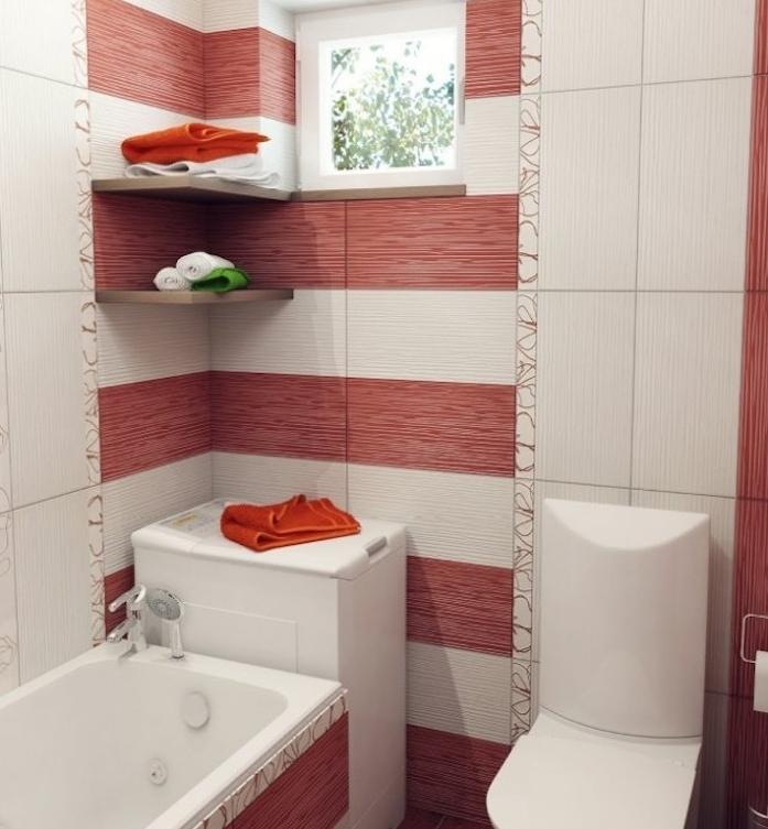 petit meuble salle de bain d angle blanc, carrelage sdb rouge et blanc, petite baignoire et wc blanc