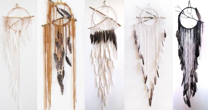 fabriquer un attrape reve en cercle simple, plumes, chutes de laine et branche au centre, décoration murale salon originale