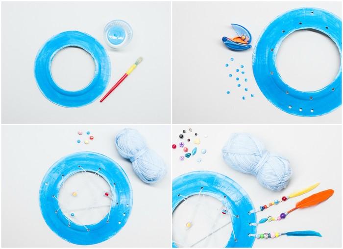 modele attrape reve enfant en assiette de papier repeinte en bleu avec filet de fils blanc, décoration de perles colorées et plumes