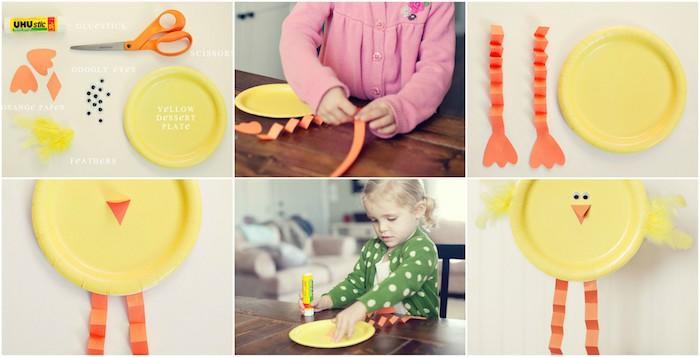 modele activité manuelle primaire pâques, bricolage avec assiette en papier jaune pour réaliser un poussin de paques, bec, james oranges, plumes décoratives jaunes