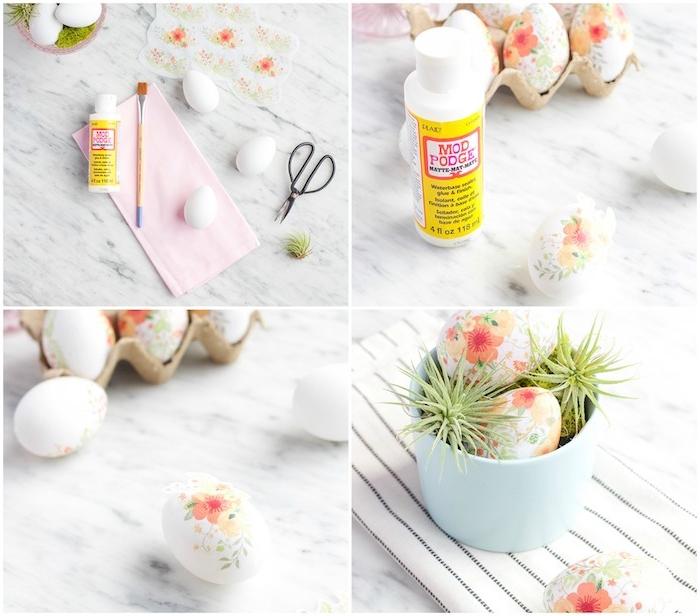 décoration oeuf de paques, activité créative originale en oeufs décorés à motifs fleuris grâce à la technique du serviettage