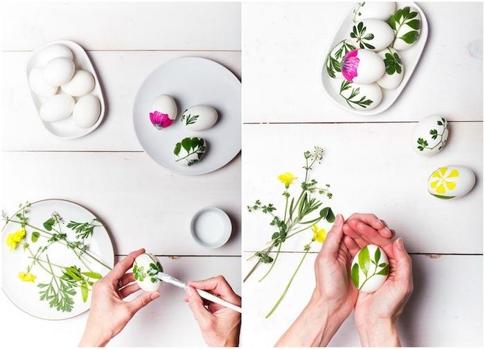 décoration oeuf de paques décorés de fleurs et branches de plantes vertes collées avec du vernis-colle