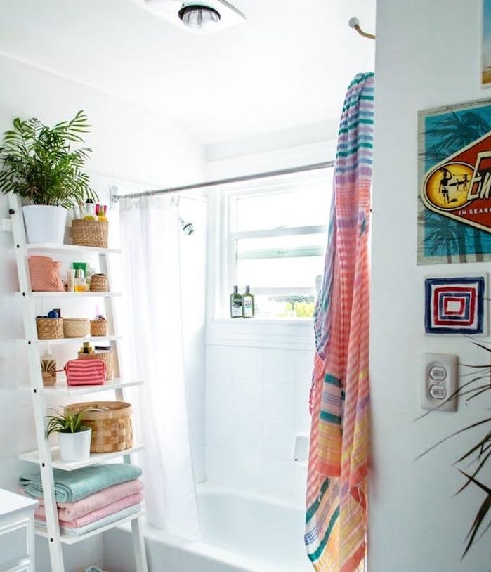 deco petite salle de bain avec baignoire et rideau de douche, échelle décorative avec des pots de plantes et paniers, accents colorés