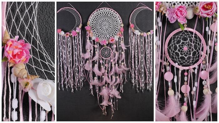 comment faire un attrape reve, toile blanche, plumes et perles rose et coquilles de mer, deco boho chic feminine